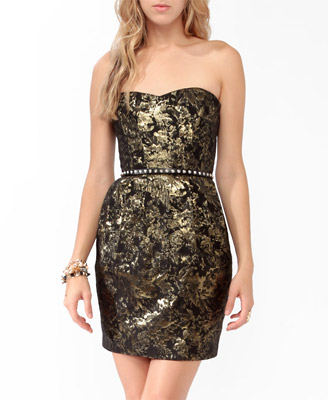 Jacquard Metallic-Blend Tube Dress