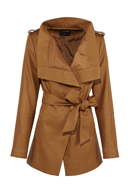 OASAP Slant Single Breasted Belted PU Trench Coat