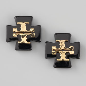 Tory Burch Black Clover Logo Earrings