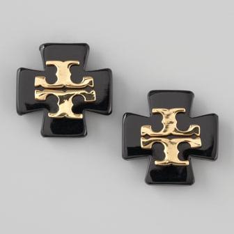 Tory Burch Black Clover Logo Earrings