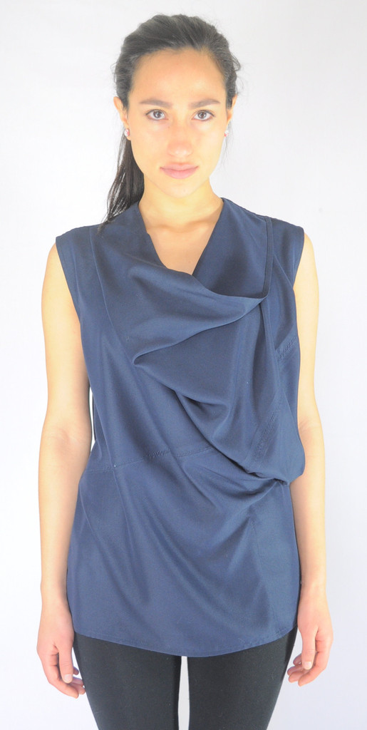 Doina Alexei Navy Blue Asymmetric Cowl Neckline Top