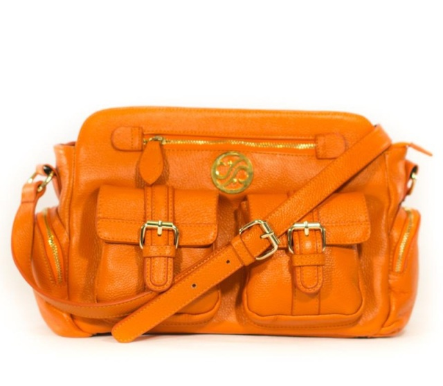 Marina Tangerine Leather Cross Body Messenger