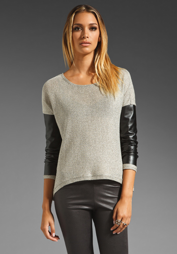 Generation Love Bobo Metallic:Faux Leather Combo Sweater in Natural