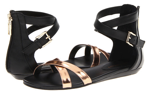 Rebecca Minkoff Bettina Black & Rose Gold Sandals