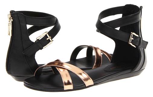 Rebecca Minkoff Bettina Black & Rose Gold Sandals