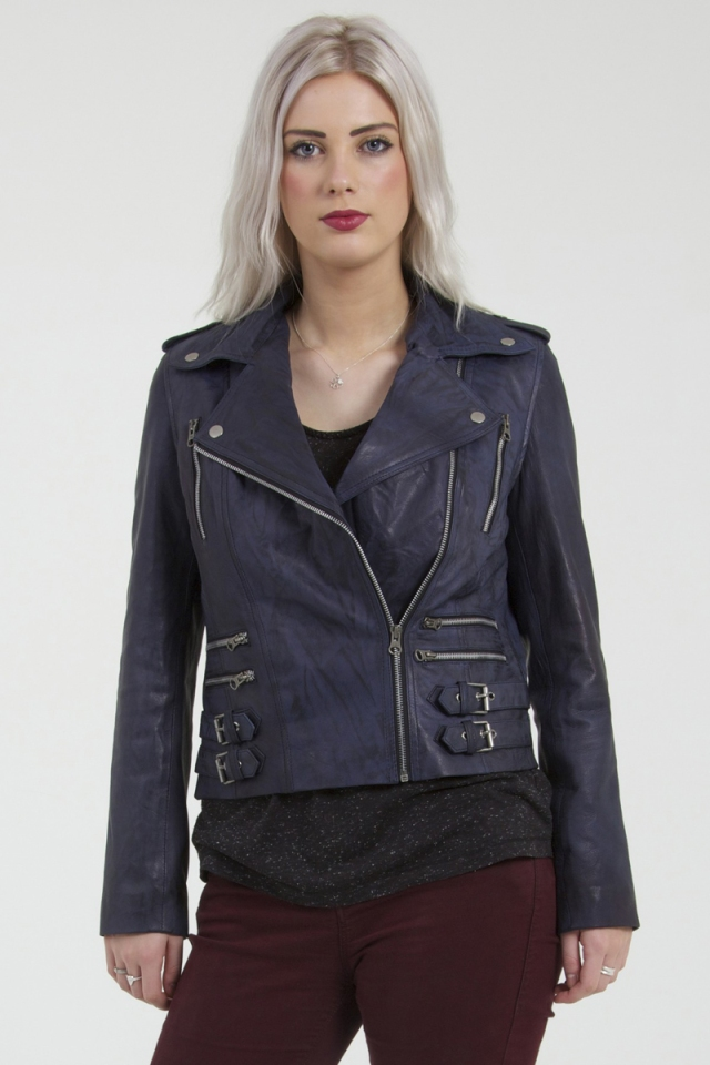 Trento Womens Blue Leather Biker Jacket