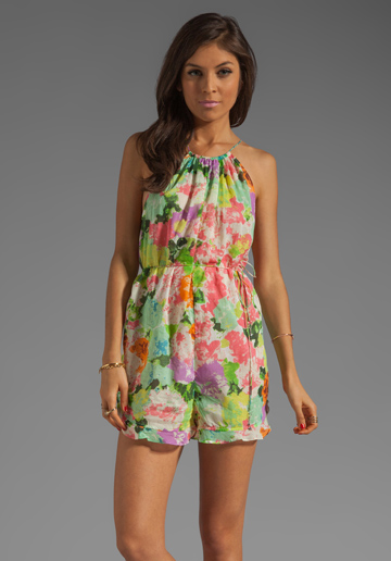 Zimmermann Brightside Frill Playsuit in Floral