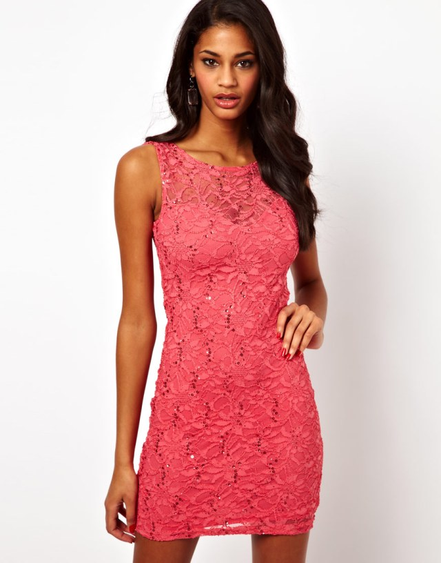 ASOS Lipsy Lace and Sequin Dress