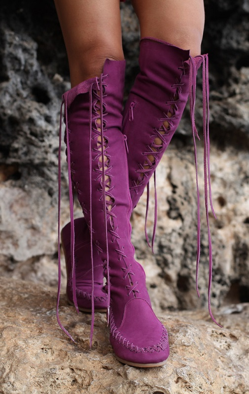 Gipsy Dharma Purple Knee High Leather Boots