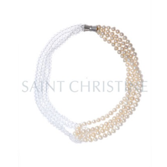 Saint Christine Freshwater Pearl & Crystal Beads Short Necklace White