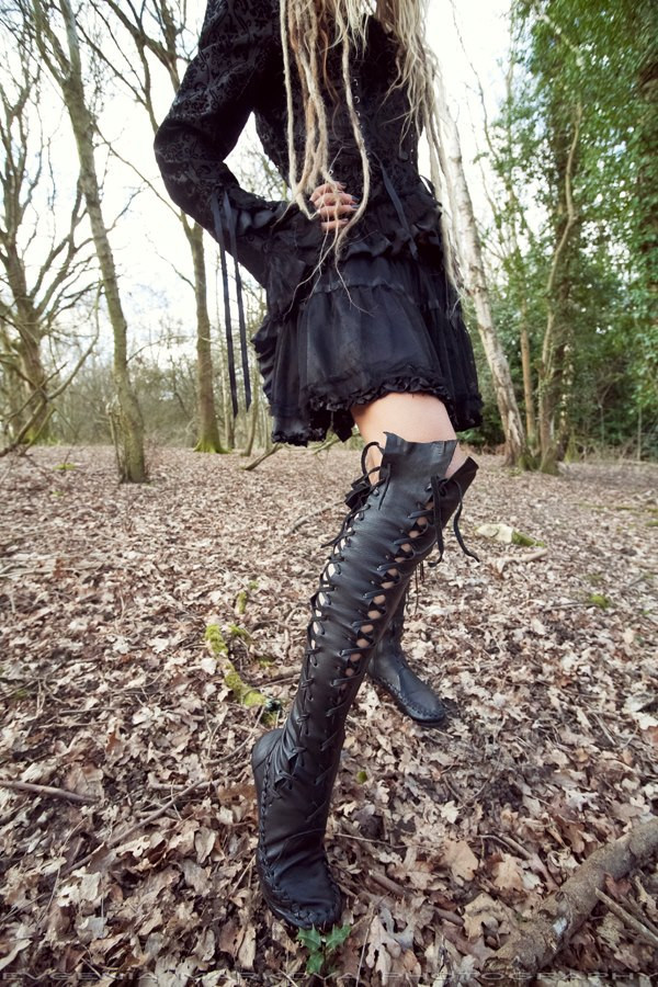 Gipsy Dharma Black Knee High Leather Boots