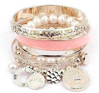 Coral & Gold Layer Bracelet