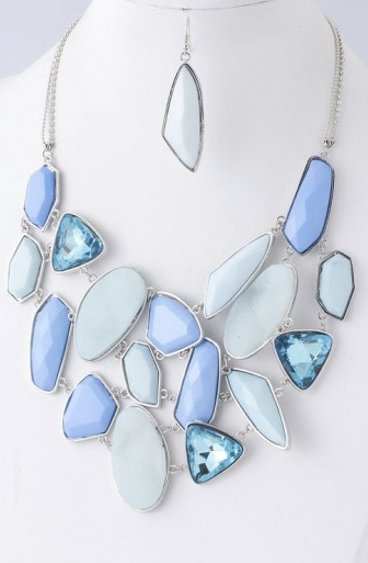 Shades of Blue Jewel Waterfall Necklace