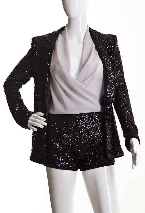 Kate Dioneda Black Sequin Power Shoulder Blazer