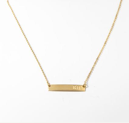 Gold Monogram Bar Necklace