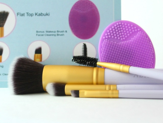 Flat Top Kabuki Foundation Brush Set with Free Makeup Brush Cleaning Tool by Altair Beauty