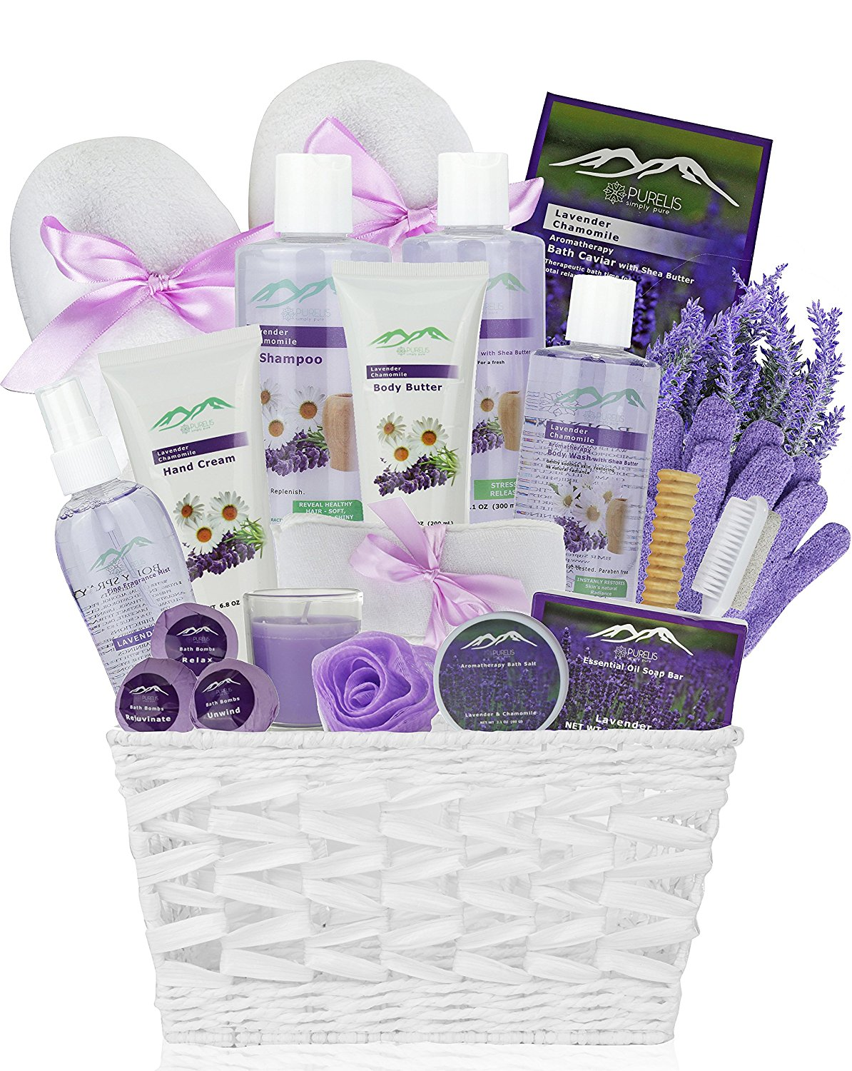 Deluxe Gift Basket with Lavender Essential Oil & Roman Chamomile Spa Gift Products