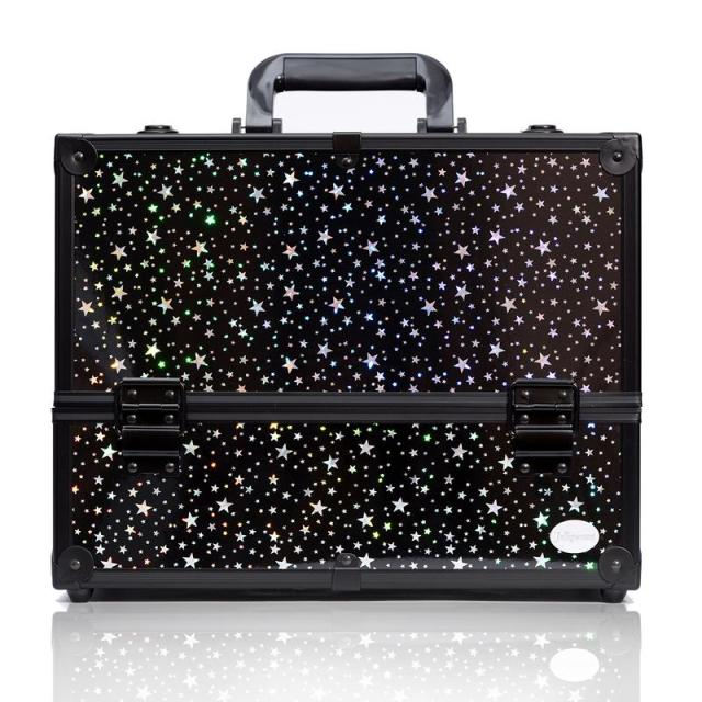 Black Star Print Makeup Train Case